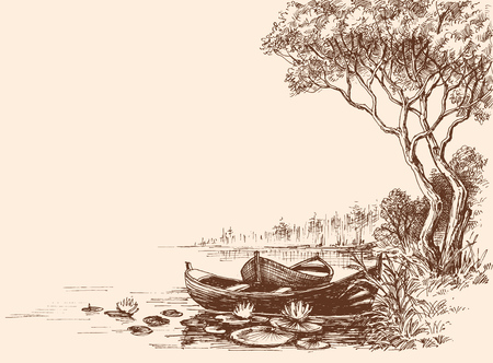 pencil drawing: Boats on shore, delta graphic Illustration