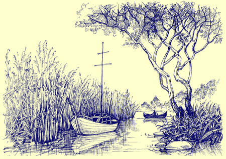 nature vector: Nature vector sketch. Boats on river, fishermen at work