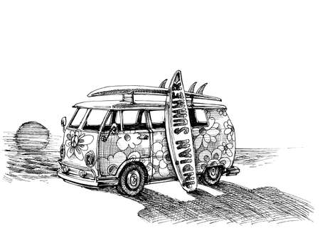 camper: Surf van on the beach. Hand drawn vector Illustration
