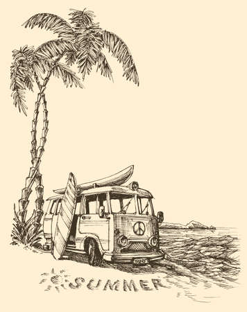 sketch: Surf van on the beach vector sketch