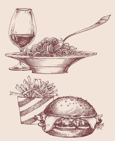 Food vector, fast food burger and fries, pasta and wine
