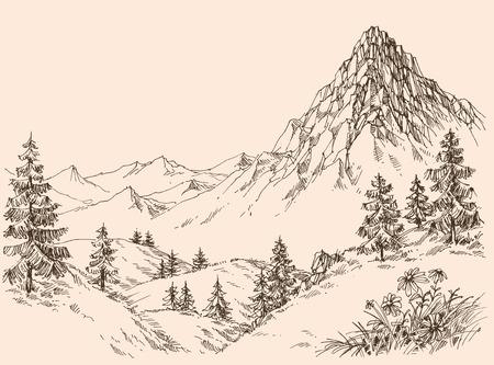 Natura w górach wektorze