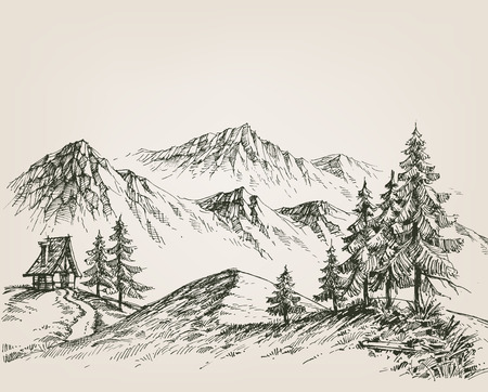 upland: Nature drawing, a hut in the mountains