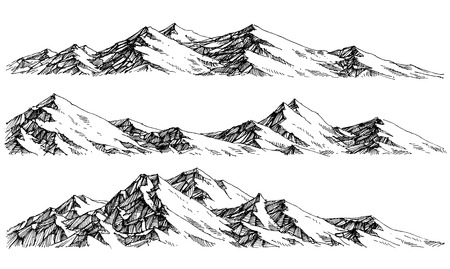 line up: Mountains ranges. Vector panorama