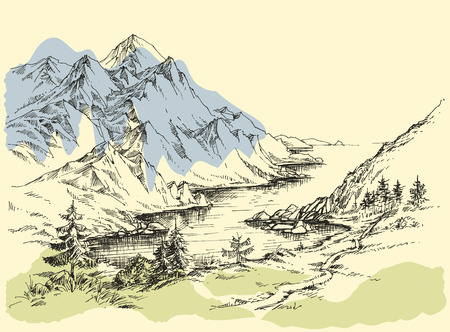 Mountain river Ilustrace