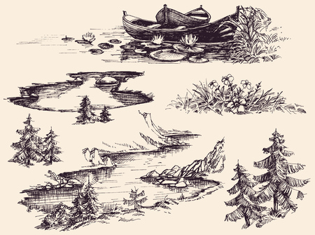 river water: Nature design elements set. Boats on water, river, lake, flowers and trees