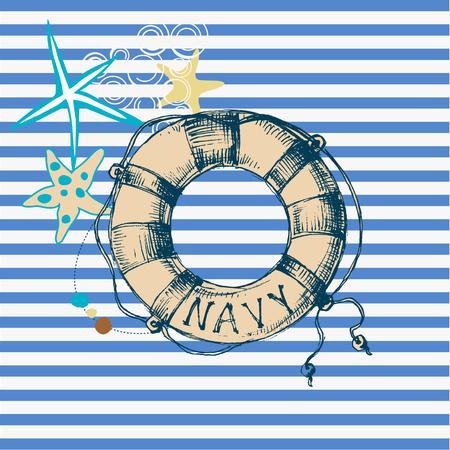 Marine background, lifebuoy frame