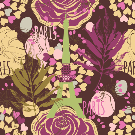 Paris seamless pattern, Eiffel tower, roses and hearts