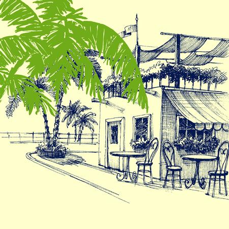 ristorante: Ristorante sulla spiaggia. Terrazza e palme Vettoriali
