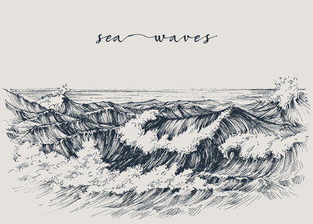 Sea or ocean waves drawing. Sea view, waves breaking on the beach Vettoriali