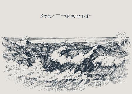 Sea or ocean waves drawing. Sea view, waves breaking on the beach Illustration