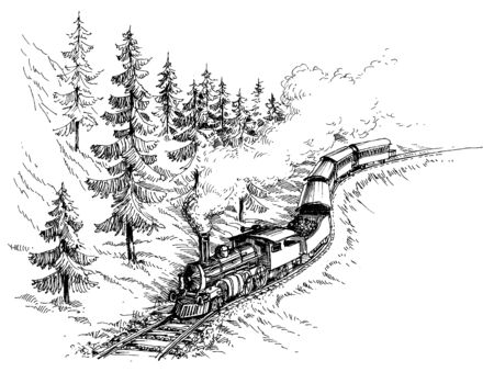 puffing: Steam train vector