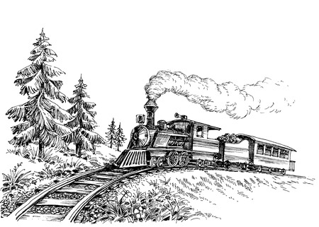 mountain road: Steam train Illustration