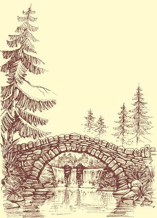 viaduct: Bridge drawing. Bridge over river graphic Illustration