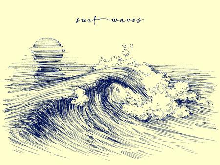 서핑 파도. 바다 파도 그래픽. 바다 물결 스케치