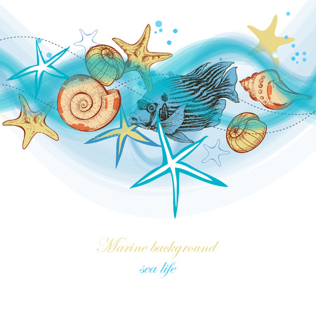 Summer sea waves and marine life, holiday, beach party background