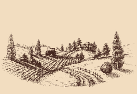etch: Farm landscape etch, agriculture scene