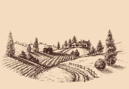 Grabado de paisaje de granja, escena de agricultura