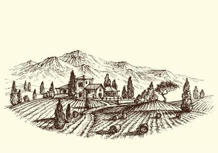 farm land: Agriculture landscape. Land after harvest, farm and hay bales