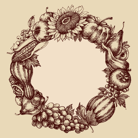 Autumn fruits and vegetables round frame. Fall garland in retro style