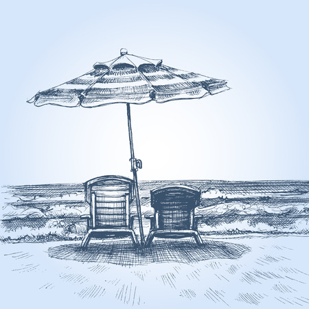 paradise beach: Sunbeds and umbrella on the beach. Summer holiday drawing