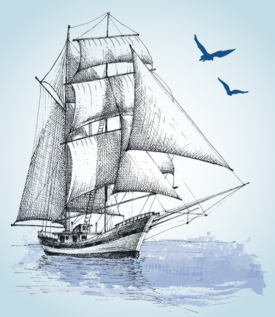 vessel: Boat drawing. Sailboat vector sketch