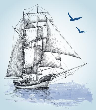 antik: Boot zu ziehen. Segelschiff Vektor-Skizze Illustration