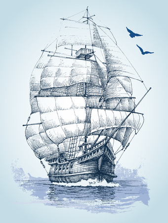 Boat on sea drawing. Sailboat vector sketch Ilustracja