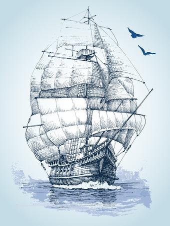 sailer: Boat on sea drawing. Sailboat vector sketch Illustration