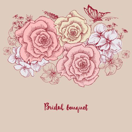 bridal bouquet: Bridal bouquet. Pink roses floral greeting card Illustration