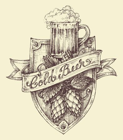 pint: Beer label design, a pint full of beer and hop