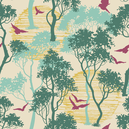 Forest birds seamless pattern Vectores