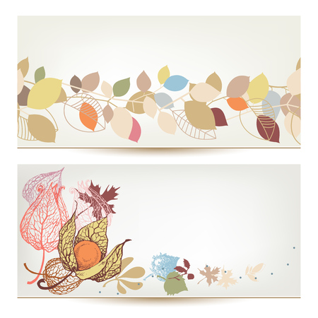 vegetal: Autumn vector banners. Fall leaves and fruits header set Illustration