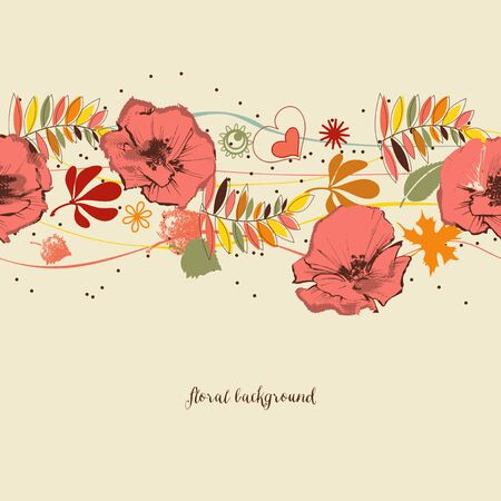 Flowers background. Autumn leaves and foliage pattern
