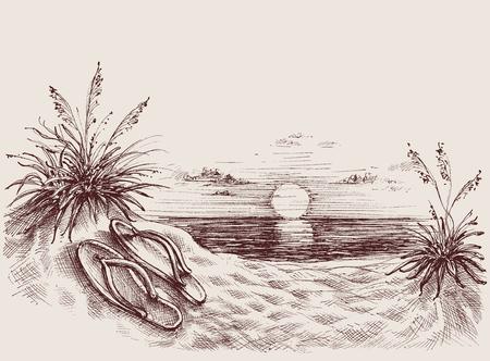 Zonsondergang op het strand vector tekening. Flip flops op strand