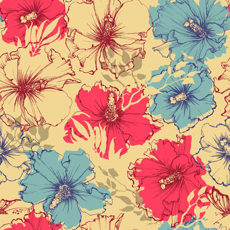 Tropical flowers seamless pattern. Hibiscus background