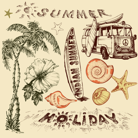 sketch: Summer holiday vector set, surf elements
