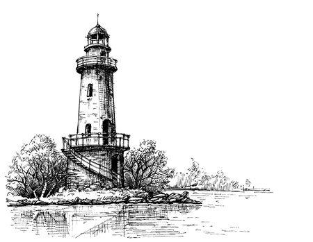 shore line: Lighthouse pencil drawing. Etch style
