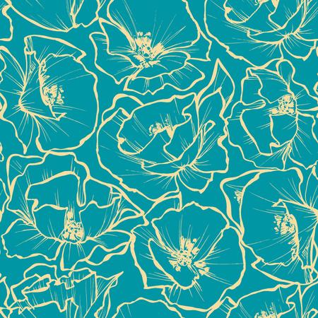 contours: Floral seamless pattern. Rose outlines print Illustration
