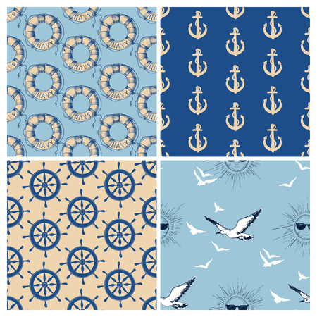 beach wrap: Marine seamless patterns vector collection. Sea and ocean retro navy backgrounds Illustration
