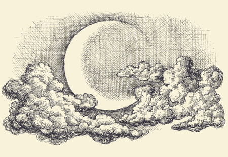 etch: Night sky vector, moon in the clouds hand drawing