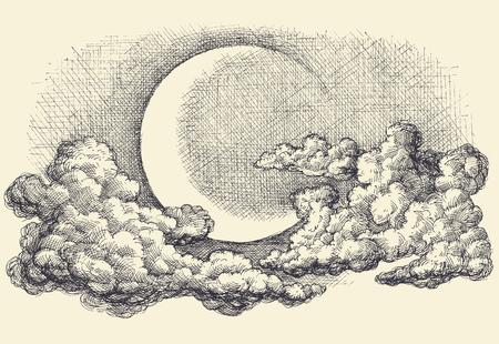 Nocne niebo wektor, księżyc w chmurach wręcza rysunek