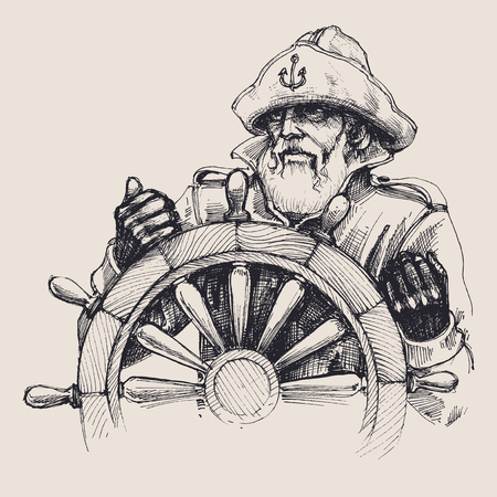 Portrait of a sailor vector drawing 일러스트