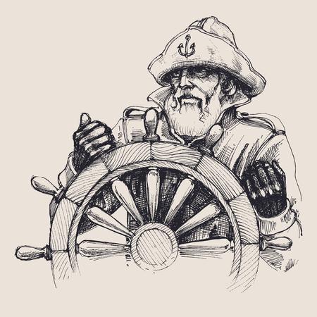 Portrait of a sailor vector drawing Illustration