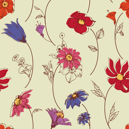 scattered: Scattered flowers seamless pattern