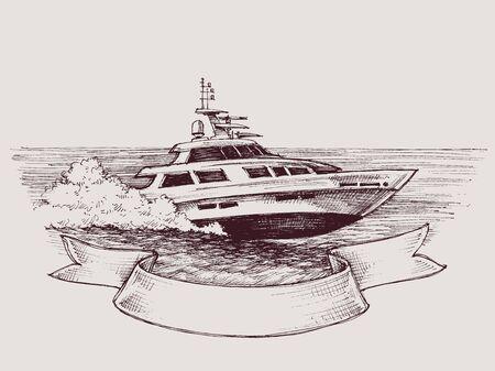 motorizado: barco de la velocidad del vector Vectores