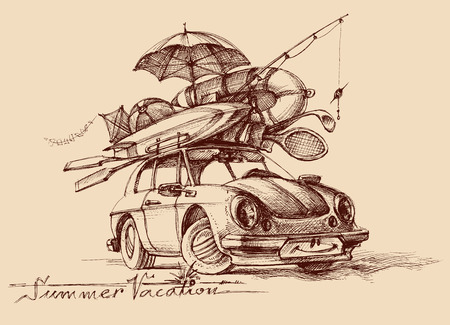Family holiday conceptual illustration. Retro car full with vacation items, ready to hit the road, travel illustration