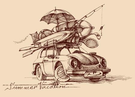 boceto: Vacaciones familiares ilustración conceptual. Coche retro completo con artículos de vacaciones, listo para salir a la carretera, ilustración de viaje