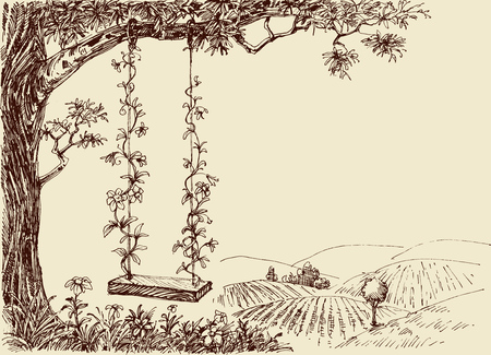 Swing drawing. A cute floral swing in the forest Banco de Imagens - 61110300