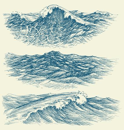 Sea and ocean waves Vector Illustration